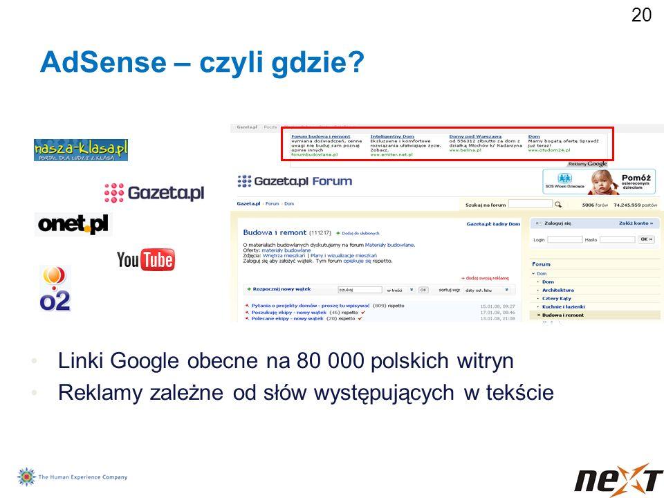 AdSense – czyli gdzie Linki Google obecne na 80 000 polskich witryn