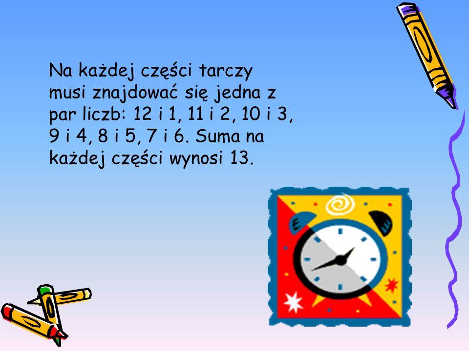 Na każdej części tarczy musi znajdować się jedna z par liczb: 12 i 1, 11 i 2, 10 i 3, 9 i 4, 8 i 5, 7 i 6.