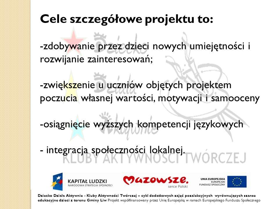 Cele szczegółowe projektu to: