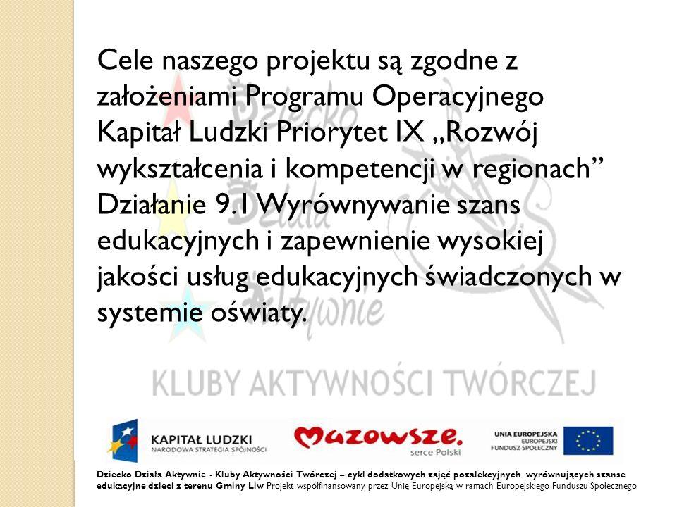 """Cele naszego projektu są zgodne z założeniami Programu Operacyjnego Kapitał Ludzki Priorytet IX """"Rozwój wykształcenia i kompetencji w regionach Działanie 9.1 Wyrównywanie szans edukacyjnych i zapewnienie wysokiej jakości usług edukacyjnych świadczonych w systemie oświaty."""