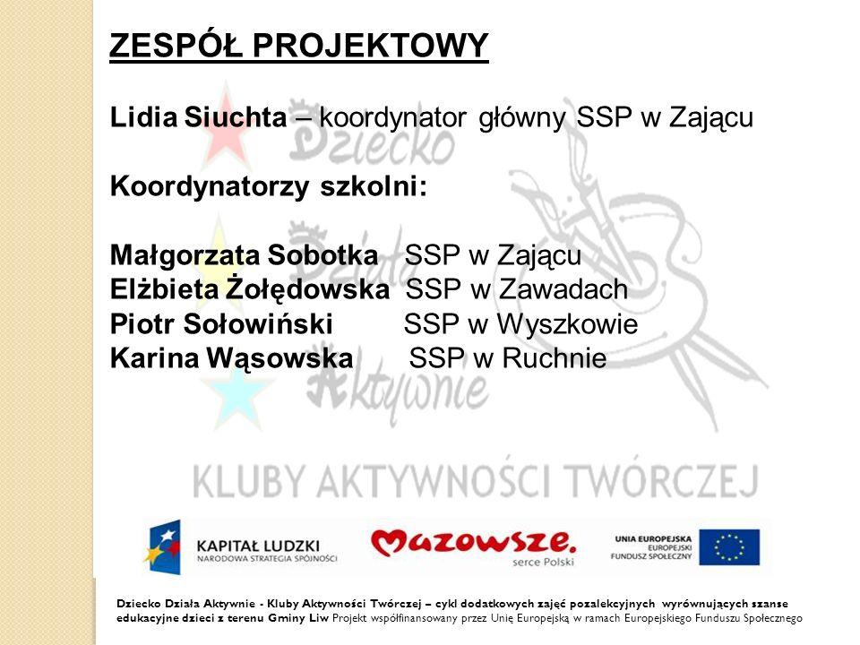 ZESPÓŁ PROJEKTOWY Lidia Siuchta – koordynator główny SSP w Zającu