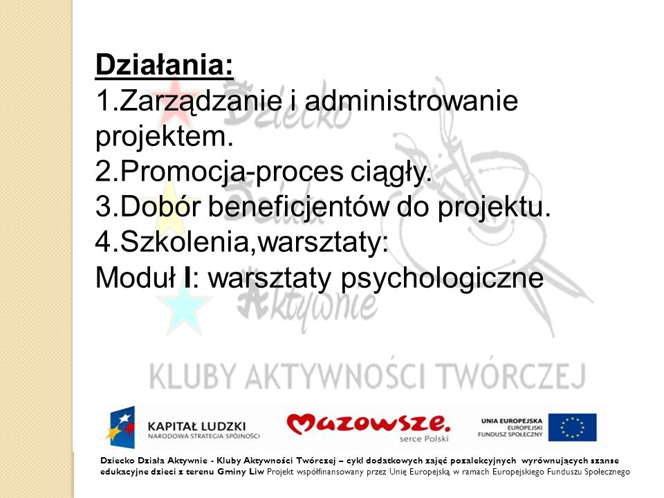 1.Zarządzanie i administrowanie projektem. 2.Promocja-proces ciągły.