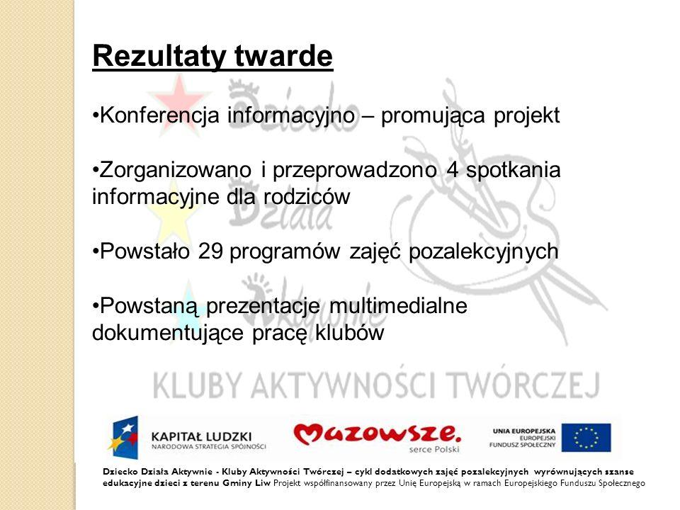 Rezultaty twarde •Konferencja informacyjno – promująca projekt