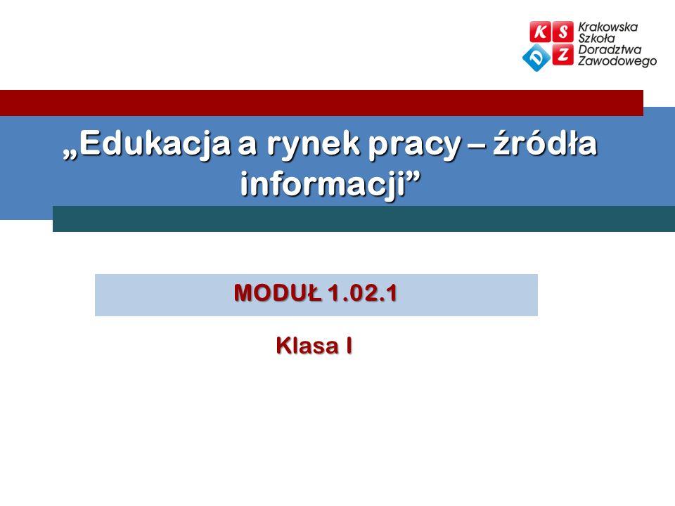 """""""Edukacja a rynek pracy – źródła informacji"""