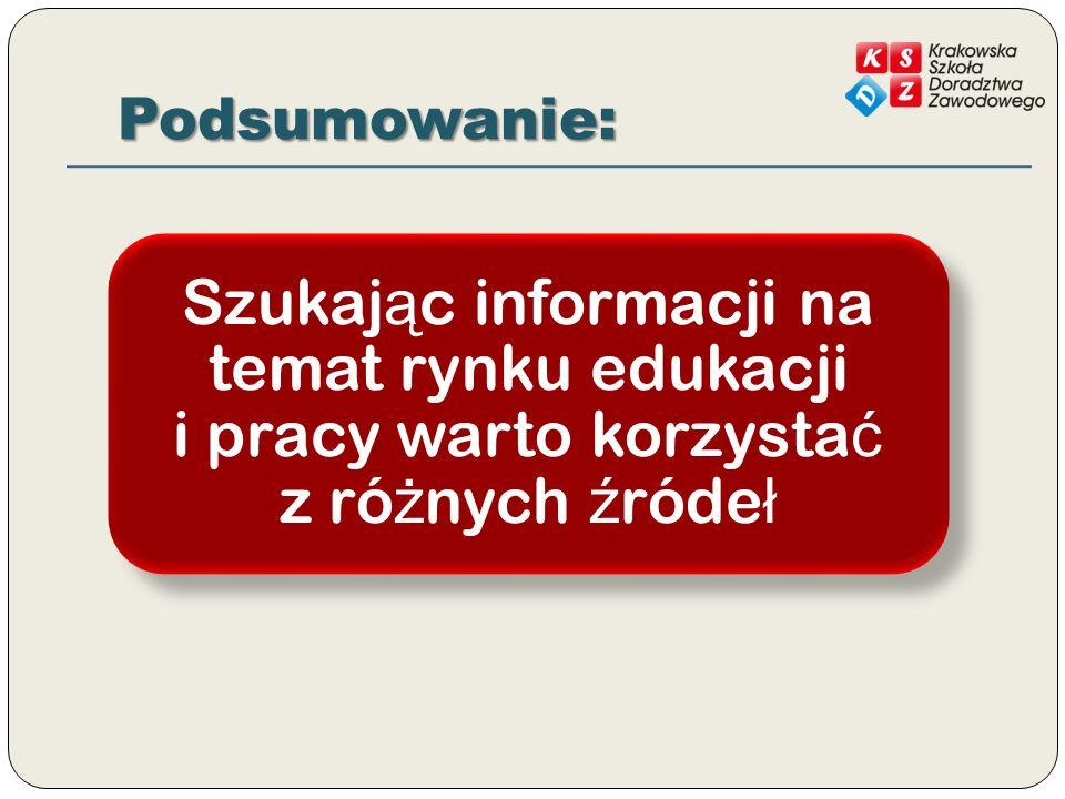 Podsumowanie: Szukając informacji na temat rynku edukacji i pracy warto korzystać z różnych źródeł.
