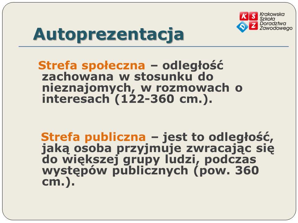Autoprezentacja Strefa społeczna – odległość zachowana w stosunku do nieznajomych, w rozmowach o interesach (122-360 cm.).