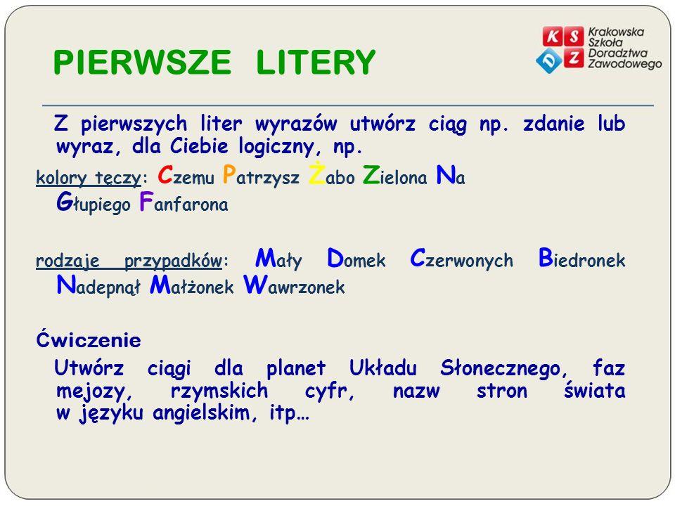PIERWSZE LITERY Z pierwszych liter wyrazów utwórz ciąg np. zdanie lub wyraz, dla Ciebie logiczny, np.