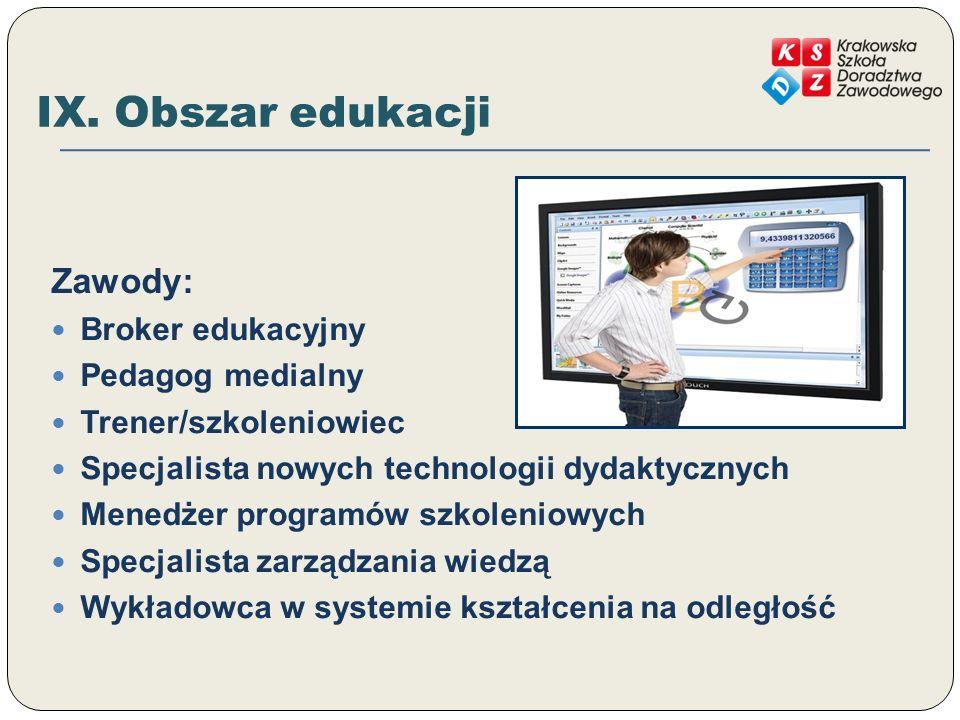 IX. Obszar edukacji Zawody: Broker edukacyjny Pedagog medialny
