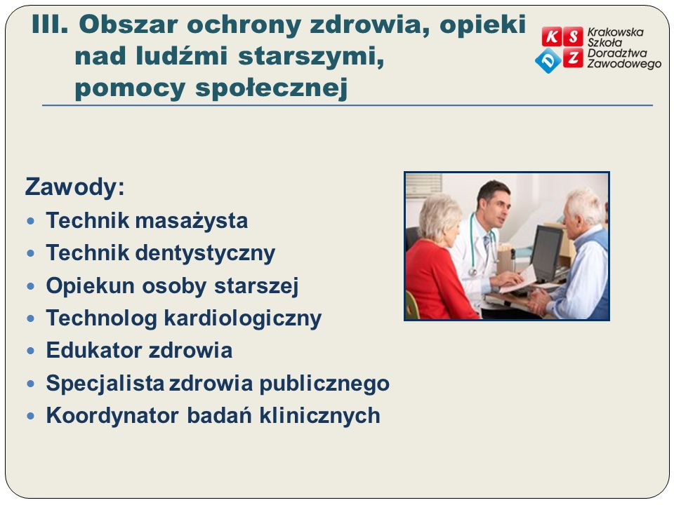III. Obszar ochrony zdrowia, opieki nad ludźmi starszymi, pomocy społecznej
