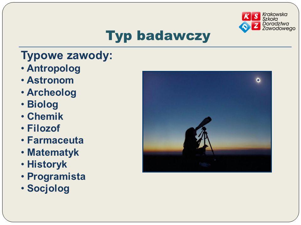 Typ badawczy Typowe zawody: Antropolog Astronom Archeolog Biolog