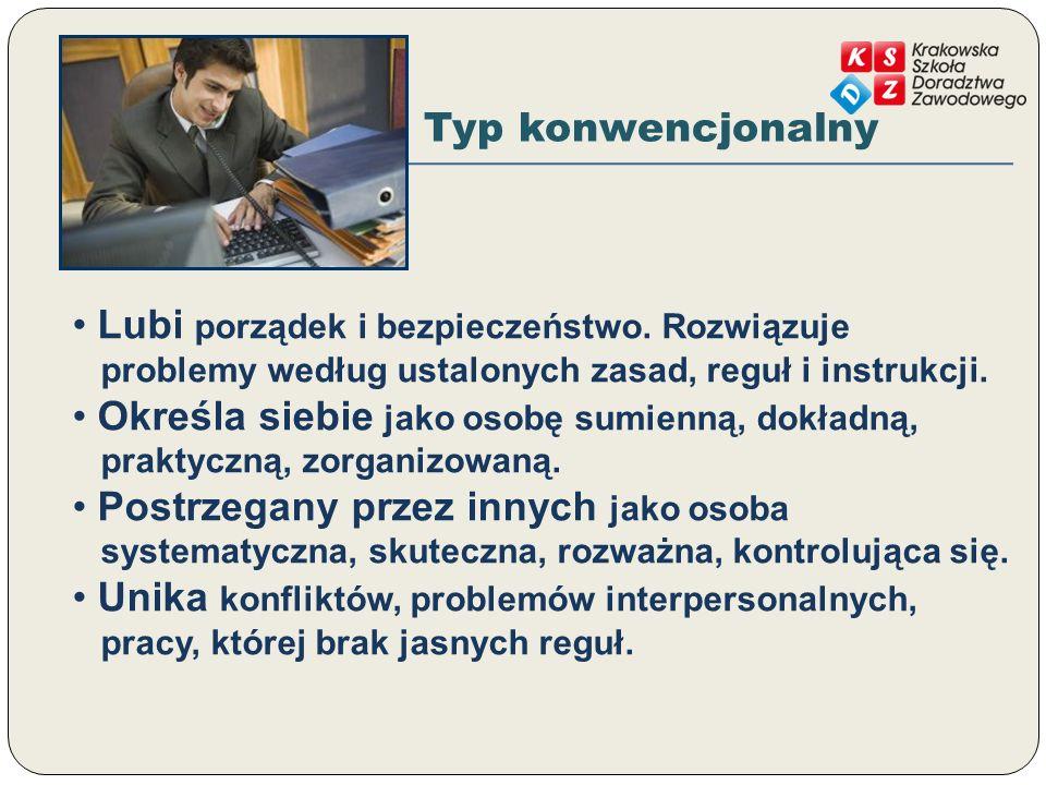 Typ konwencjonalny Lubi porządek i bezpieczeństwo. Rozwiązuje problemy według ustalonych zasad, reguł i instrukcji.