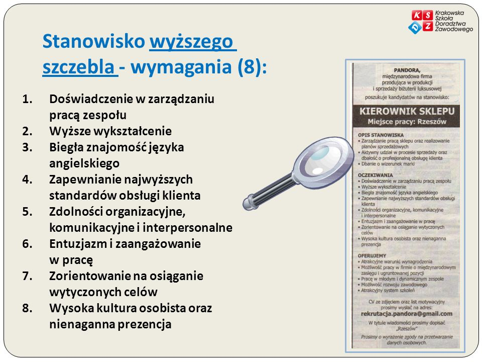 szczebla - wymagania (8):