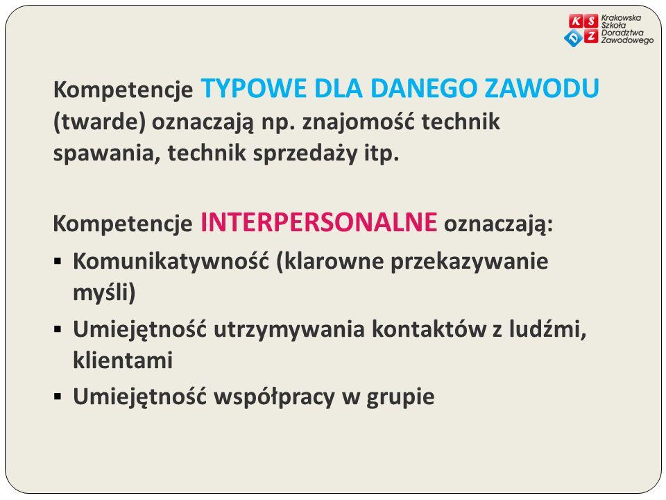 Kompetencje TYPOWE DLA DANEGO ZAWODU (twarde) oznaczają np