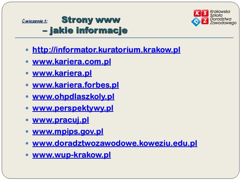 Ćwiczenie 1: Strony www – jakie informacje
