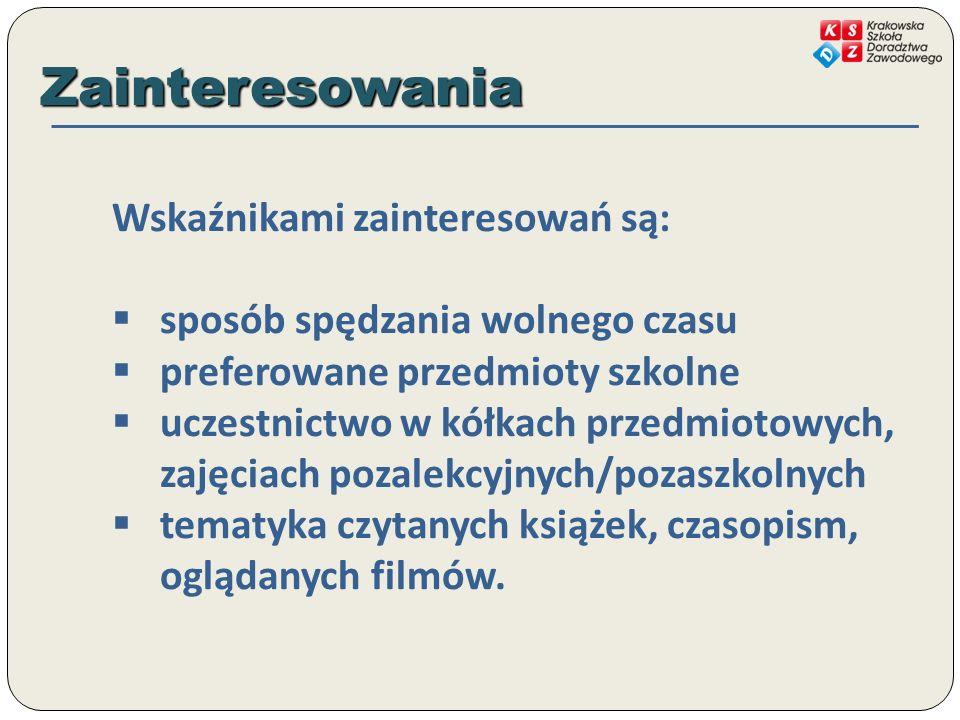 Zainteresowania Wskaźnikami zainteresowań są: