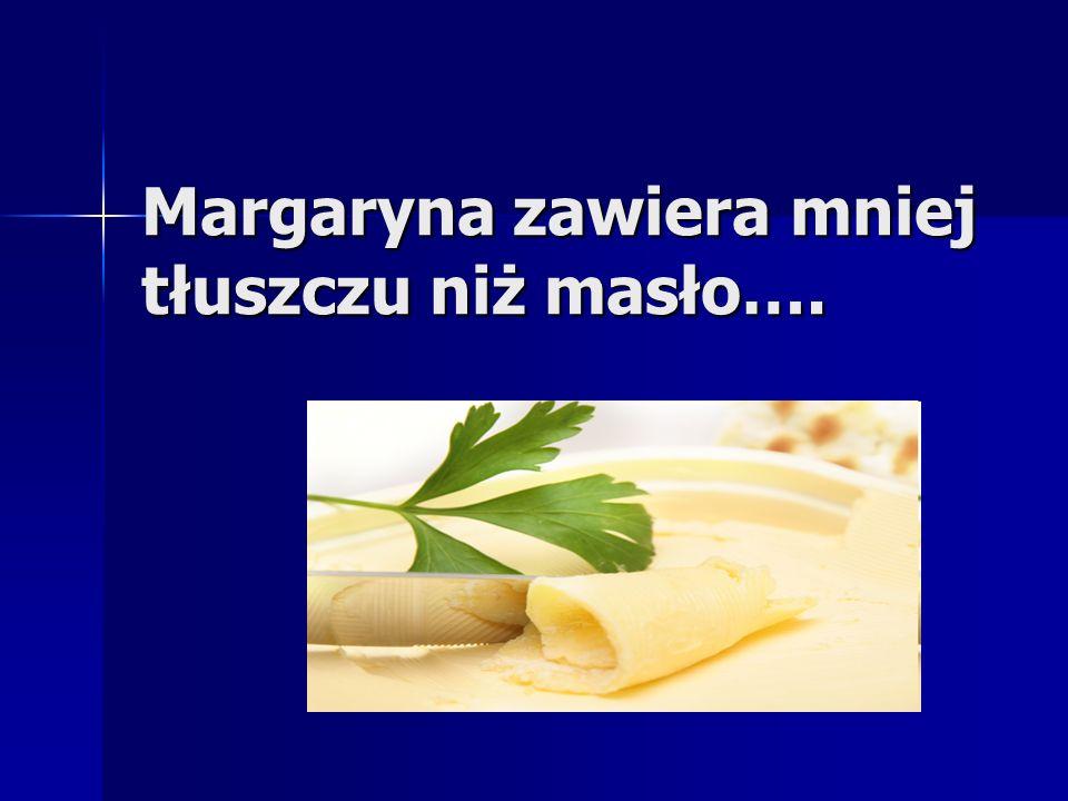 Margaryna zawiera mniej tłuszczu niż masło….