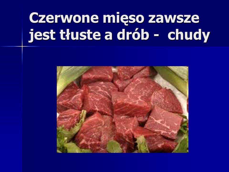 Czerwone mięso zawsze jest tłuste a drób - chudy