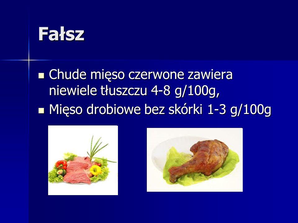 Fałsz Chude mięso czerwone zawiera niewiele tłuszczu 4-8 g/100g,