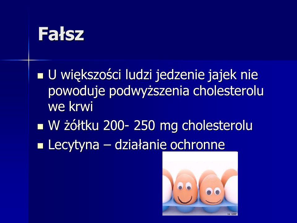 Fałsz U większości ludzi jedzenie jajek nie powoduje podwyższenia cholesterolu we krwi. W żółtku 200- 250 mg cholesterolu.