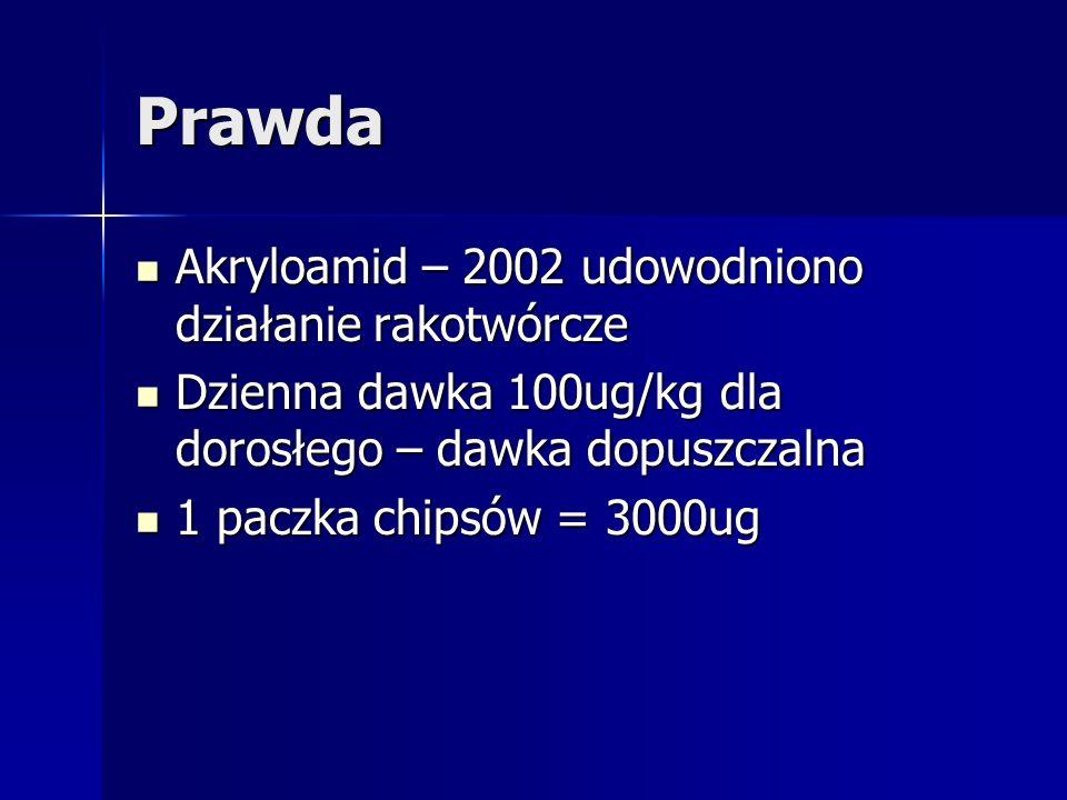 Prawda Akryloamid – 2002 udowodniono działanie rakotwórcze