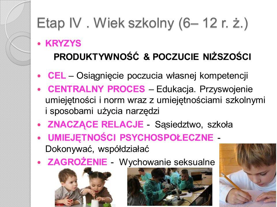 Etap IV . Wiek szkolny (6– 12 r. ż.)