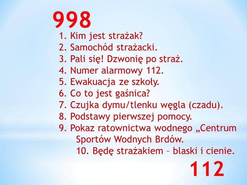 998 112 1. Kim jest strażak 2. Samochód strażacki.
