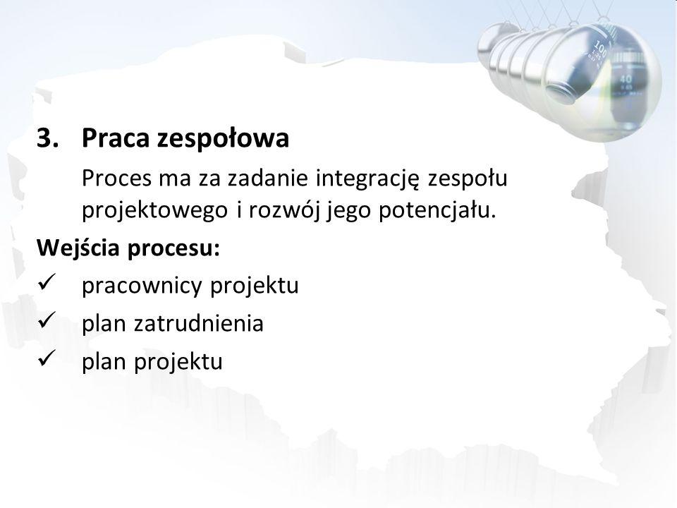 Praca zespołowa Proces ma za zadanie integrację zespołu projektowego i rozwój jego potencjału. Wejścia procesu: