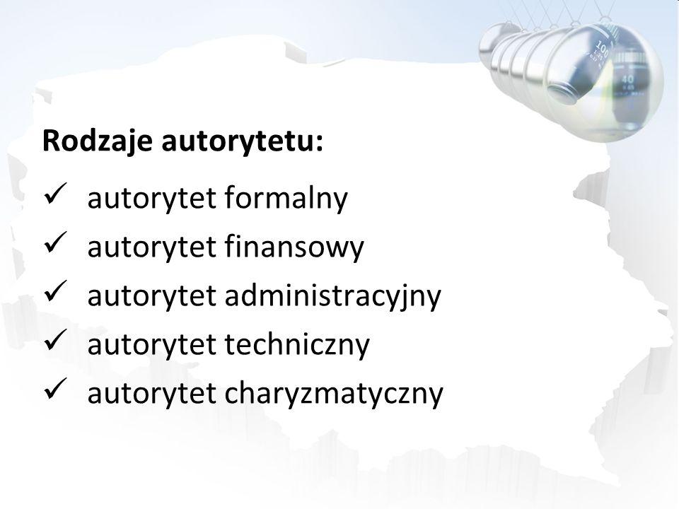 Rodzaje autorytetu: autorytet formalny. autorytet finansowy. autorytet administracyjny. autorytet techniczny.