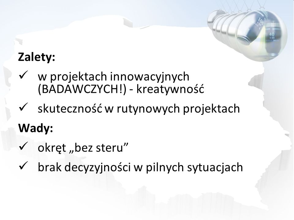 Zalety: w projektach innowacyjnych (BADAWCZYCH!) - kreatywność. skuteczność w rutynowych projektach.