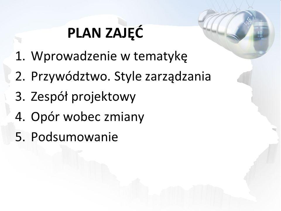 PLAN ZAJĘĆ Wprowadzenie w tematykę Przywództwo. Style zarządzania
