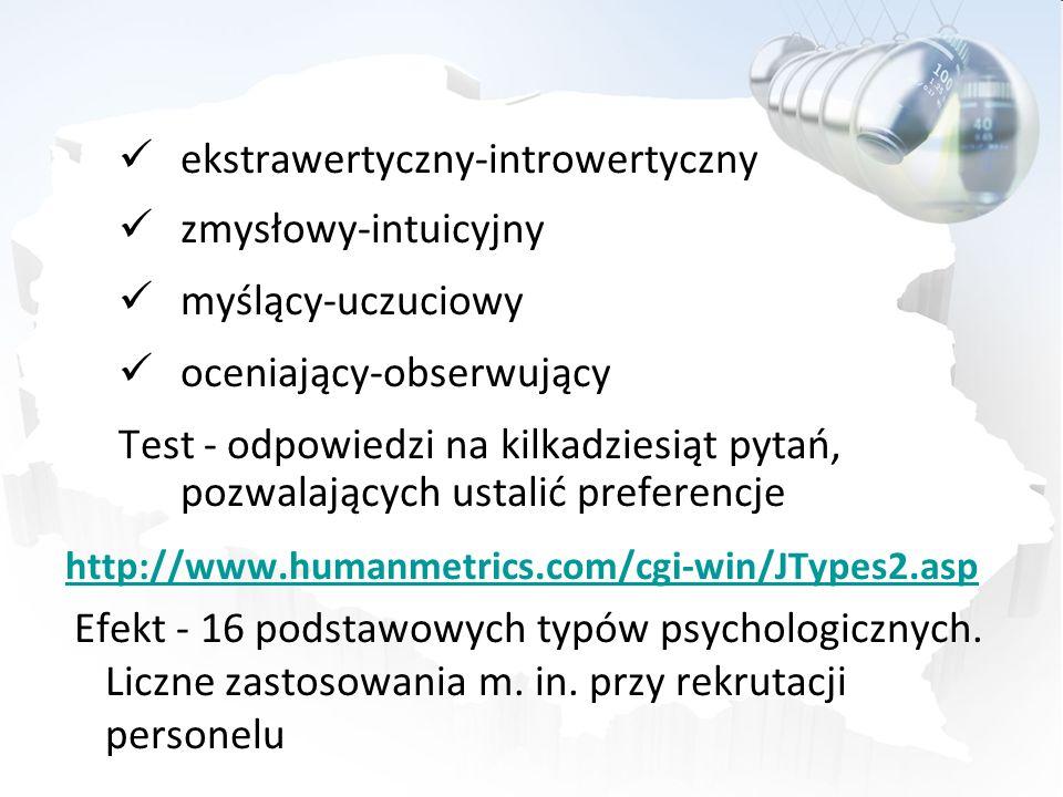 ekstrawertyczny-introwertyczny zmysłowy-intuicyjny myślący-uczuciowy