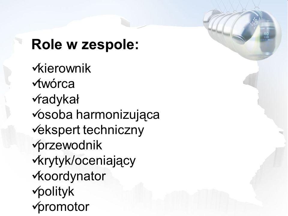 Role w zespole: kierownik twórca radykał osoba harmonizująca