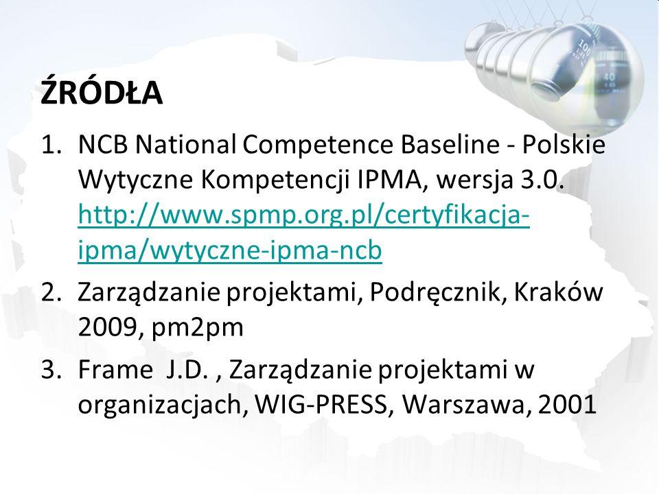 ŹRÓDŁA NCB National Competence Baseline - Polskie Wytyczne Kompetencji IPMA, wersja 3.0. http://www.spmp.org.pl/certyfikacja-ipma/wytyczne-ipma-ncb.