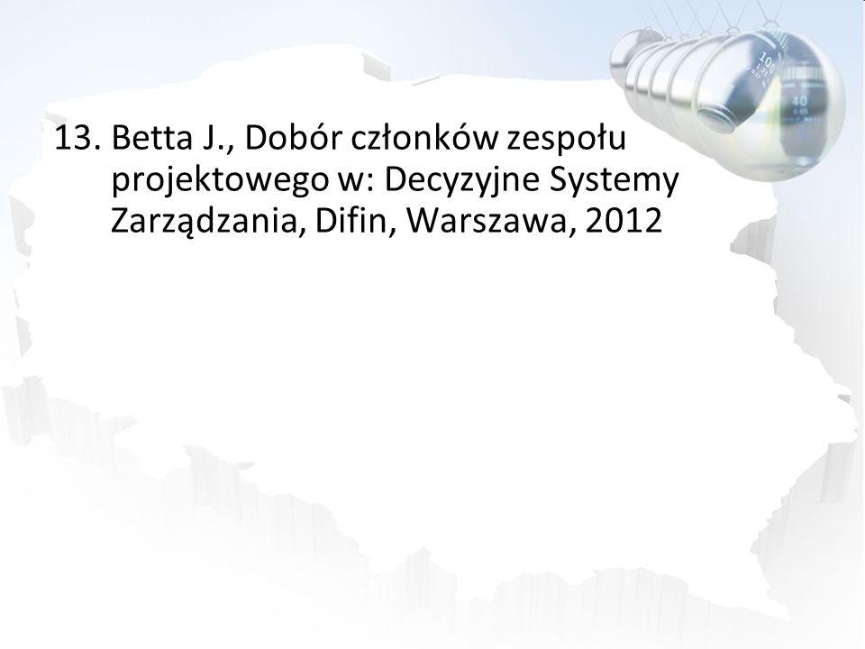 Betta J., Dobór członków zespołu projektowego w: Decyzyjne Systemy Zarządzania, Difin, Warszawa, 2012