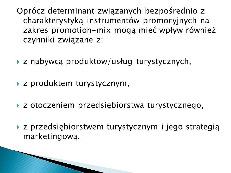 Oprócz determinant związanych bezpośrednio z charakterystyką instrumentów promocyjnych na zakres promotion-mix mogą mieć wpływ również czynniki związane z: