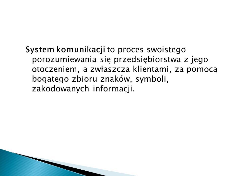 System komunikacji to proces swoistego porozumiewania się przedsiębiorstwa z jego otoczeniem, a zwłaszcza klientami, za pomocą bogatego zbioru znaków, symboli, zakodowanych informacji.