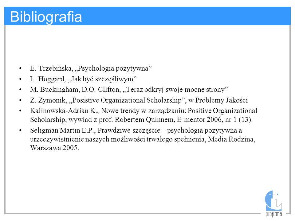 """Bibliografia E. Trzebińska, """"Psychologia pozytywna"""