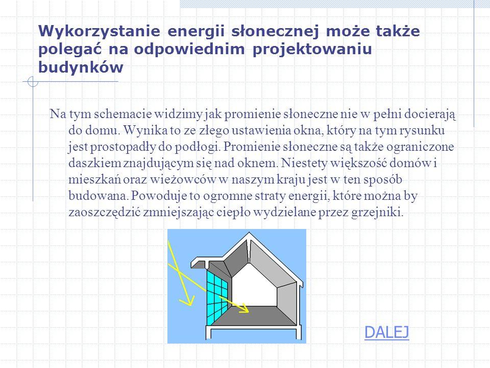 Wykorzystanie energii słonecznej może także polegać na odpowiednim projektowaniu budynków