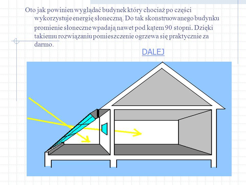 Oto jak powinien wyglądać budynek który chociaż po części wykorzystuje energię słoneczną. Do tak skonstruowanego budynku promienie słoneczne wpadają nawet pod kątem 90 stopni. Dzięki takiemu rozwiązaniu pomieszczenie ogrzewa się praktycznie za darmo.