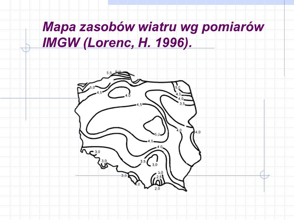 Mapa zasobów wiatru wg pomiarów IMGW (Lorenc, H. 1996).