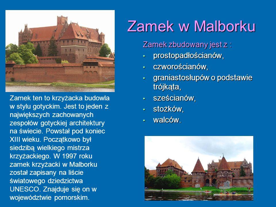 Zamek w Malborku Zamek zbudowany jest z : prostopadłościanów,