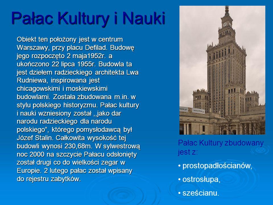 Pałac Kultury i Nauki Pałac Kultury zbudowany jest z: