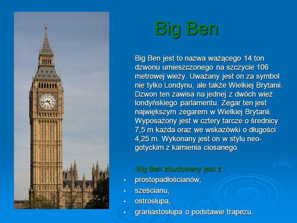 Big Ben Big Ben zbudowany jest z : prostopadłościanów, sześcianu,