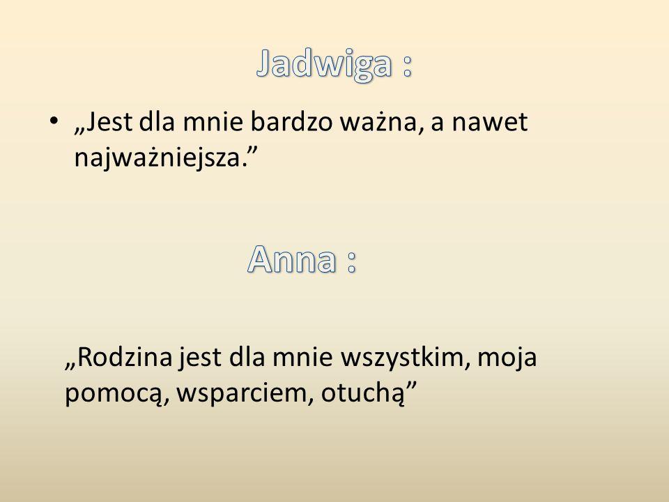 """Jadwiga : Anna : """"Jest dla mnie bardzo ważna, a nawet najważniejsza."""