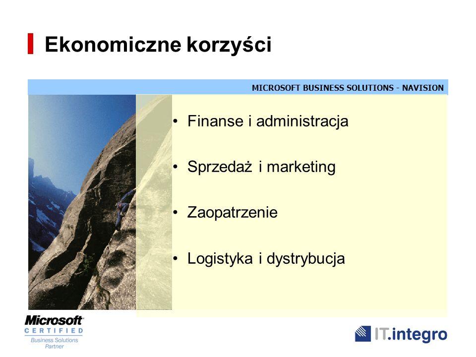 Ekonomiczne korzyści Finanse i administracja Sprzedaż i marketing