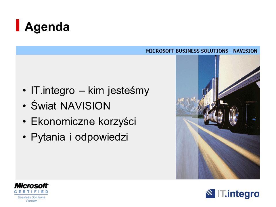 Agenda IT.integro – kim jesteśmy Świat NAVISION Ekonomiczne korzyści