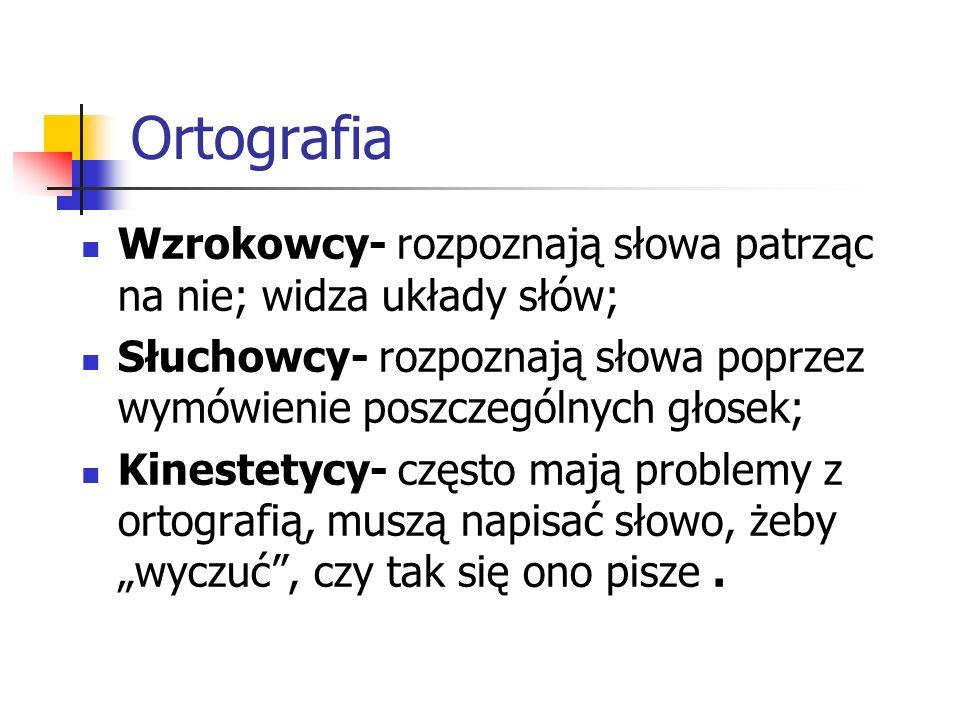 Ortografia Wzrokowcy- rozpoznają słowa patrząc na nie; widza układy słów; Słuchowcy- rozpoznają słowa poprzez wymówienie poszczególnych głosek;