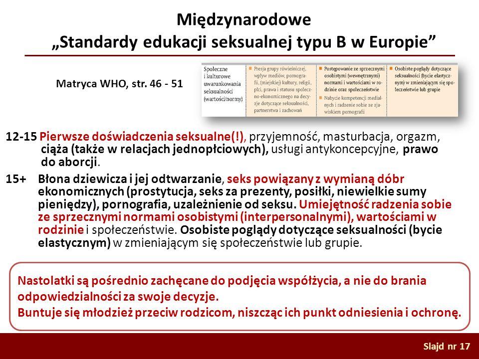 """Międzynarodowe """"Standardy edukacji seksualnej typu B w Europie"""