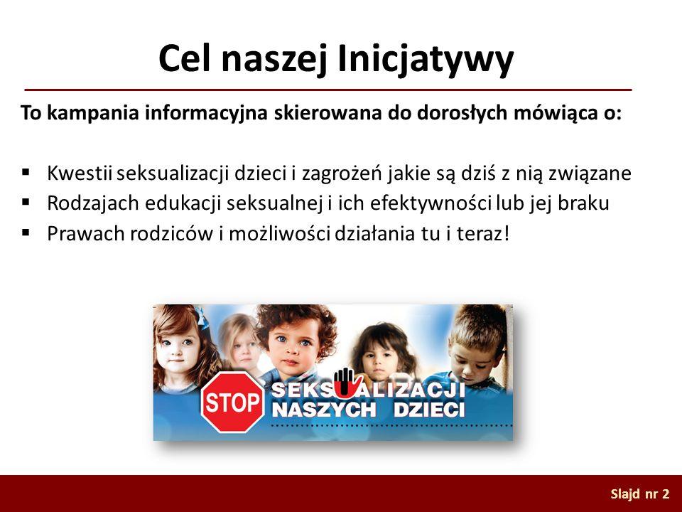 Cel naszej Inicjatywy To kampania informacyjna skierowana do dorosłych mówiąca o: