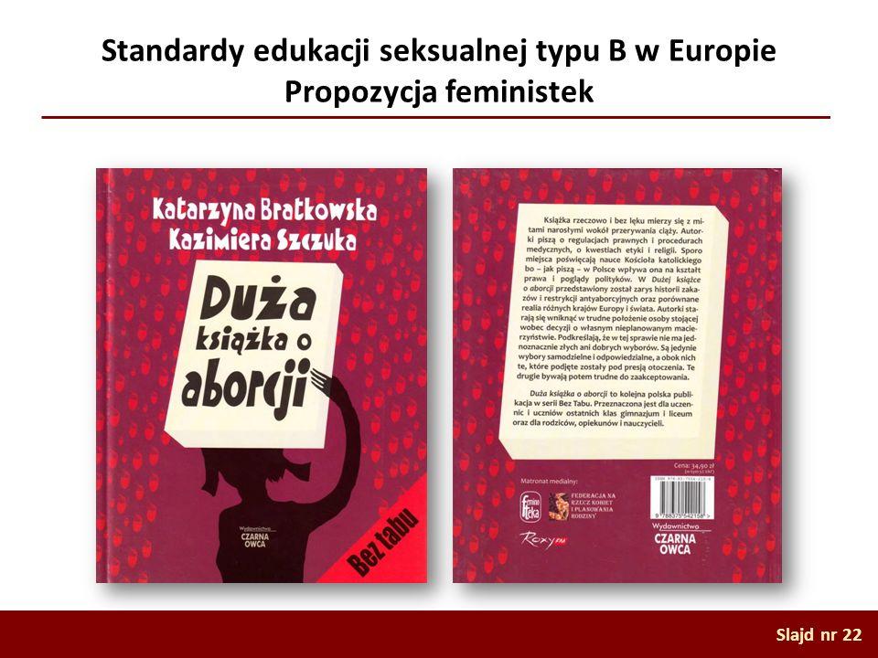 Standardy edukacji seksualnej typu B w Europie Propozycja feministek